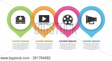 Set Laptop With Star, Online Play Video, Film Reel And Megaphone. Business Infographic Template. Vec