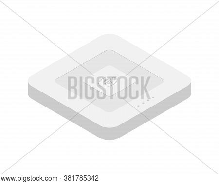Isometric Emv Chip Credit Card Square Reader. Secure Cashless Payment Vector Illustration. Square Co