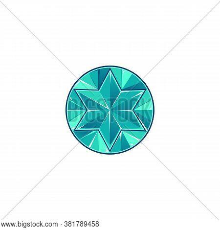 Diamond Or Blue Topaz Rounded Gem Icon Cartoon Vector Illustration Isolated.