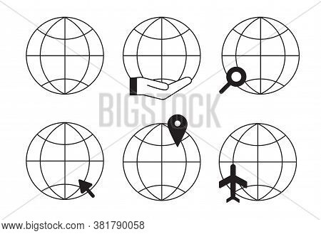 Globe Earth Vector Outline Icons Set. Worldwide Go To Web Symbols Collection Vector Illustrations