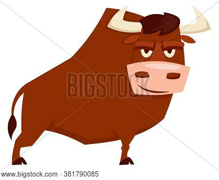 Standing Angry Bull. Farm Animal In Cartoon Style.