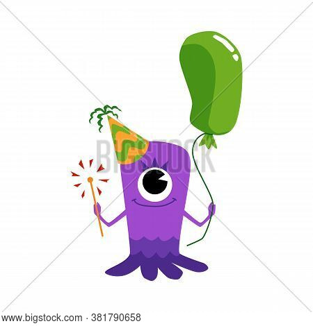 Cute Cartoon Monster In Party Hat Holding Green Balloon And Sparkler