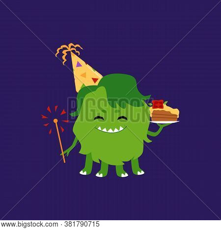 Funny Green Monster In Party Hat Holding Birthday Cake Piece And Sparkler