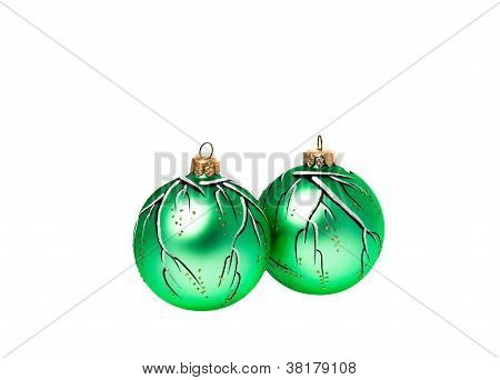 Two hand-painted green christmas balls