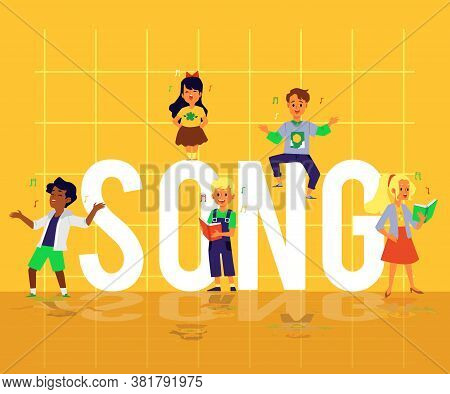 Yellow Song Banner With Kid Choir Performing Music Around Giant Word