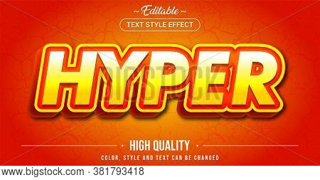 Editable Text Style Effect - Hyper Theme Style. Graphic Design Element.