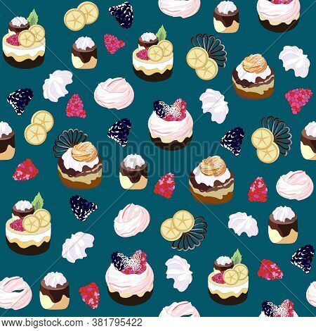 Seamless Pattern With Sweets. Cakes, Muffins, Pastries With Cream, Cakes, Berries, Marshmallows, Cho