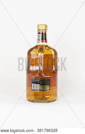Palma, Mallorca, Spain - April 11 2019: Seagram's 100 Pipers De Luxe Scotch Whisky Bottle 1,75 Litre