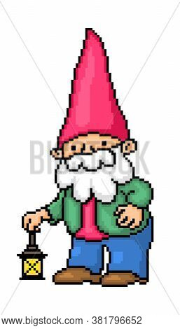 Bearded Garden Gnome In A Red Pointy Hat, Green Jacket, Red Shirt And Blue Pants With A Lantern, Pix