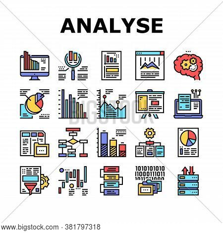 Analyze Infographic Collection Icons Set Vector. Analyze And Research Market Diagram, Binary Code An