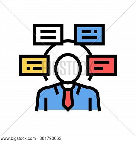 Human Comprehends Tasks Color Icon Vector. Human Comprehends Tasks Sign. Isolated Symbol Illustratio