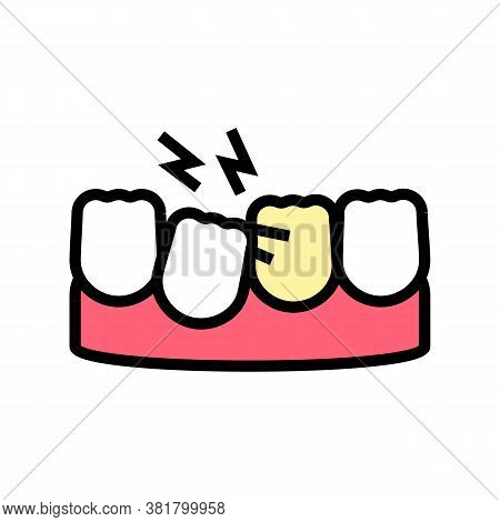 Loose Tooth Color Icon Vector. Loose Tooth Sign. Isolated Symbol Illustration