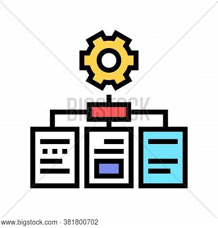 Analyzing Documents Color Icon Vector. Analyzing Documents Sign. Isolated Symbol Illustration