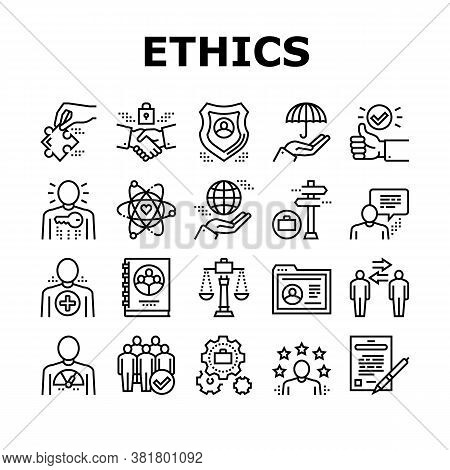 Business Ethics Moral Collection Icons Set Vector. Social Ethics And Partnership, Honesty And Impact