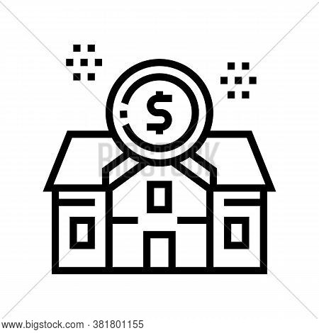 Rental House Building Line Icon Vector. Rental House Building Sign. Isolated Contour Symbol Black Il