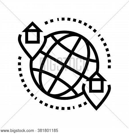 Rental House World Location Line Icon Vector. Rental House World Location Sign. Isolated Contour Sym