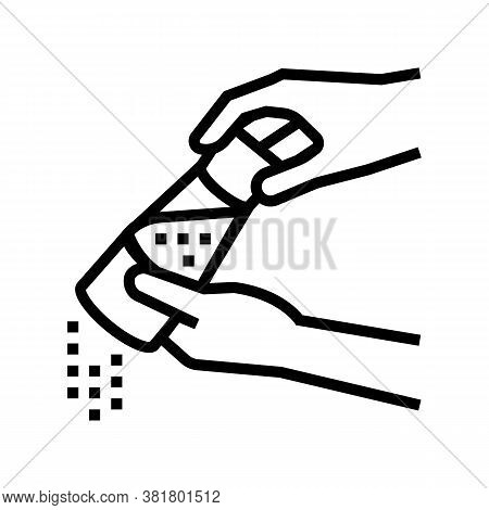 Red Pepper Flavoring Dish Line Icon Vector. Red Pepper Flavoring Dish Sign. Isolated Contour Symbol