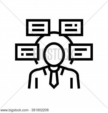 Human Comprehends Tasks Line Icon Vector. Human Comprehends Tasks Sign. Isolated Contour Symbol Blac