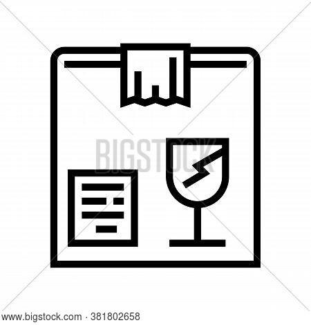 Fragile Box Line Icon Vector. Fragile Box Sign. Isolated Contour Symbol Black Illustration