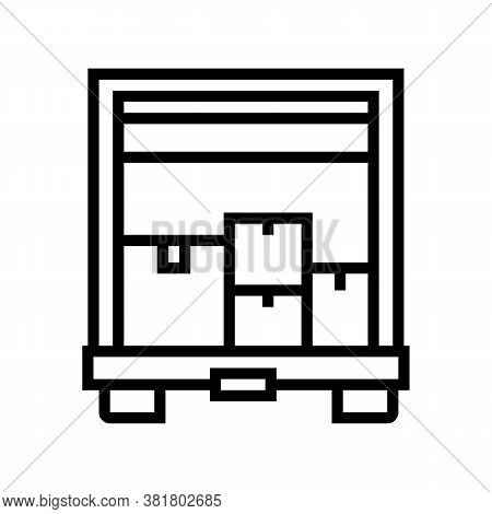 Boxes Upload In Truck Line Icon Vector. Boxes Upload In Truck Sign. Isolated Contour Symbol Black Il