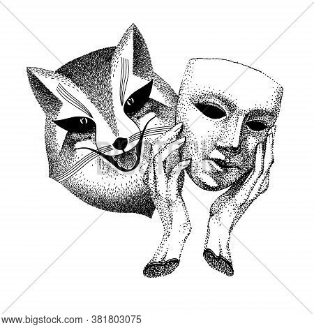 Trickster Vector Illustration. Fox With Mask In His Hands. Black And White Tattoo. Liar, Dodger, Mis