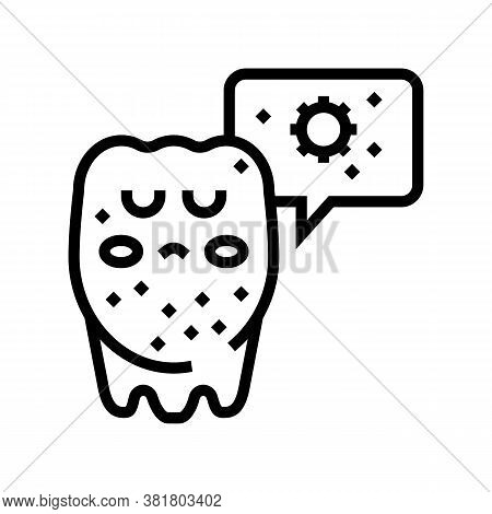 Unhealthy Tooth Line Icon Vector. Unhealthy Tooth Sign. Isolated Contour Symbol Black Illustration
