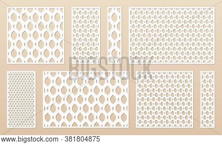 Laser Cut Panel Collection. Cnc Pattern Set. Vector Template With Abstract Geometric Texture Of Grid