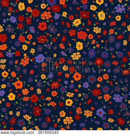 Vector Seamless Pattern With Small Scattered Flowers On Black. Liberty Style Wallpapers. Elegant Flo