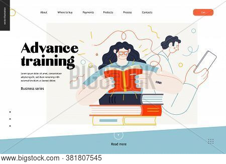 Business Topics - Advance Training, Education, Skill Development, Web Template. Flat Style Modern Ou