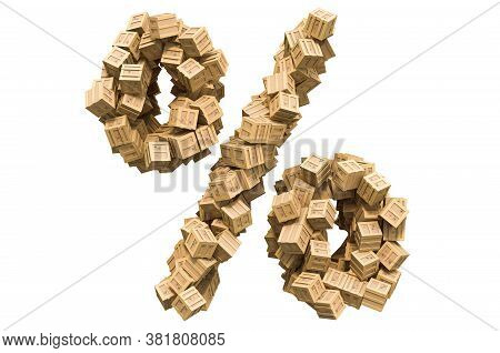 Percent Sign From Wooden Boxes. 3d Rendering Isolated On White Background