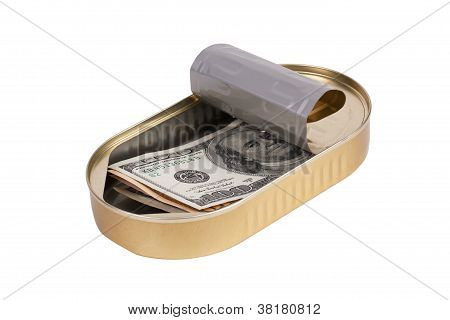 Tin can with dollars on a white background poster