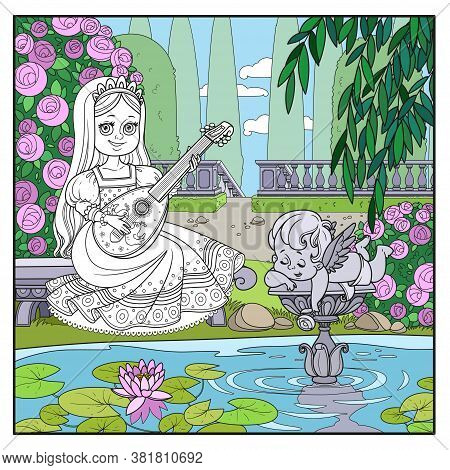 Beautiful Princess Plays The Lute In The Palace Park Near The Pond  Page For Coloring