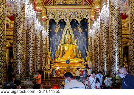 Phitsanulok, Thailand - July 04 2020: Many People Worship The Phra Buddha Chinnarat At Phra Si Ratta