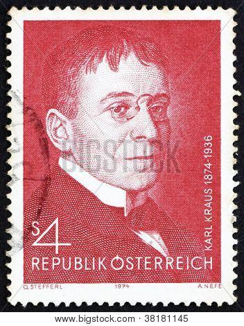 Postage stamp Austria 1974 Karl Kraus, Poet and Satirist