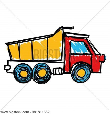 Vector Dump Truck Icon, Drawing In Childrens Style. Isolated On A White Background