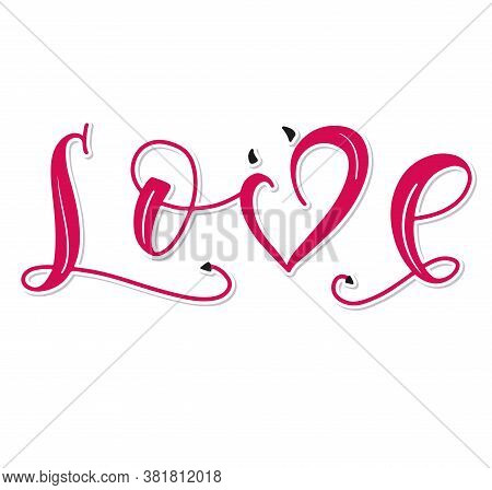 Love, Lettering With Devil Horns And A Tail, A Sign Of Vicious And Dirty Love, Vector Illustration I
