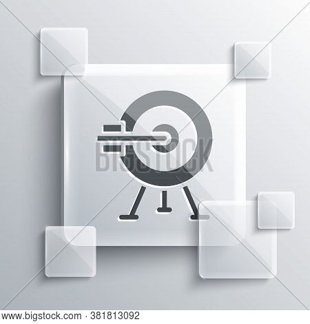 Grey Target With Arrow Icon Isolated On Grey Background. Dart Board Sign. Archery Board Icon. Dartbo