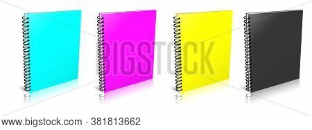 Empty Spiral Notebook Cmyk. Illustration 3d Rendering. Isolated On White Background.