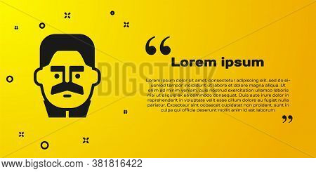 Black Portrait Of Joseph Stalin Icon Isolated On Yellow Background. Vector