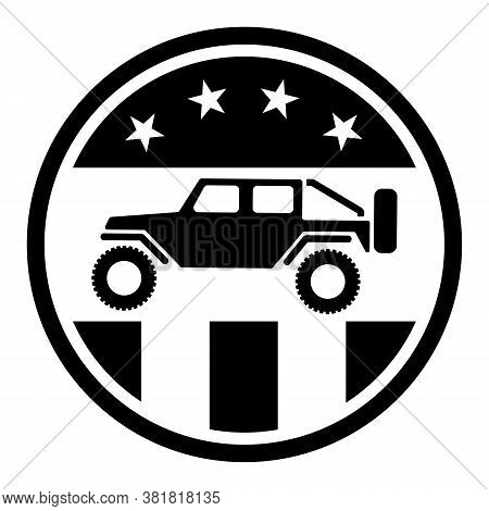 Usa Off Road 4wd Logo In Black With Stars And Stripes Isolated Vector Illustration, Sharp Patriotic