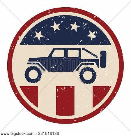 Usa Off Road 4wd Logo With Slightly Grungy Distressed Aged Look In Red White And Blue With Stars And