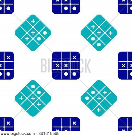 Blue Tic Tac Toe Game Icon Isolated Seamless Pattern On White Background. Vector
