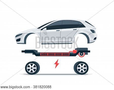 Modern Electric Car Batteries Platform Board Scheme With Bodywork Wheels. Electrical Skateboard Chas