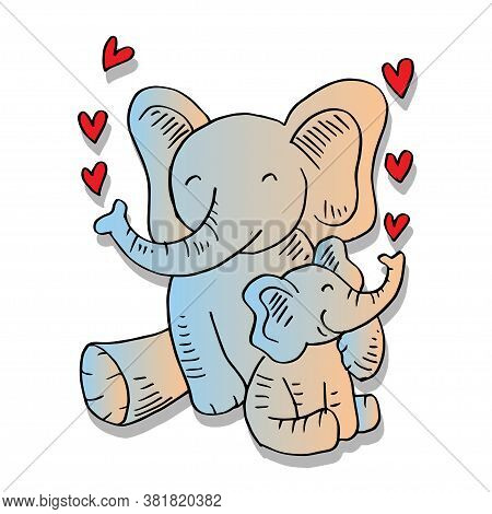 Cartoon Cute Elephant Mom With Elephant Child. For Shier Design.