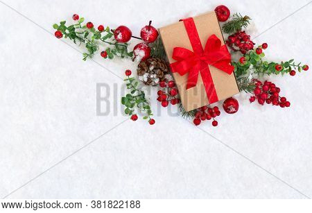 Christmas Decoration, Banner. Gift Box With Red Ribbon, Bow, Twigs Christmas Tree, Cone, Red Berries