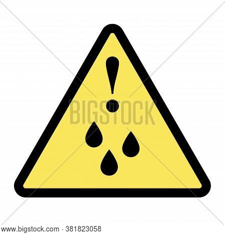 Wet Floor Sign, Slippery Floor Icon With Falling Man In Modern Rounded Style. Isolated Vector Illust