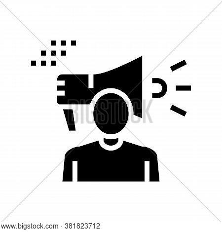 Human Loudspeaker Glyph Icon Vector. Human Loudspeaker Sign. Isolated Contour Symbol Black Illustrat