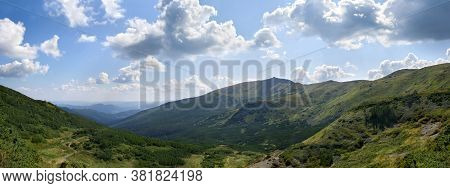 Beautiful Mountain Landscape, Mount Pip Ivan. At Top Of Mountain Are Ruins Of Polish Astronomical An