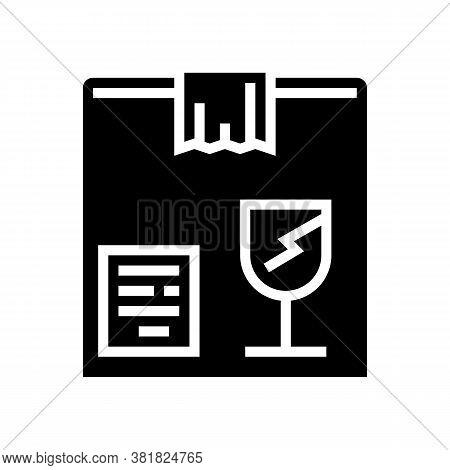 Fragile Box Glyph Icon Vector. Fragile Box Sign. Isolated Contour Symbol Black Illustration