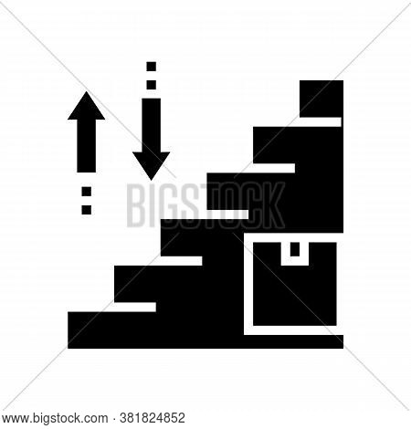 Carrying Box Up And Down Steps Glyph Icon Vector. Carrying Box Up And Down Steps Sign. Isolated Cont